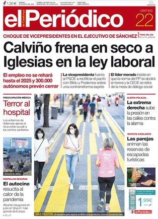La portada d'EL PERIÓDICO del 22 de maig del 2020