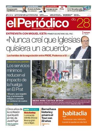 La portada d'EL PERIÓDICO del 28 de juliol del 2019