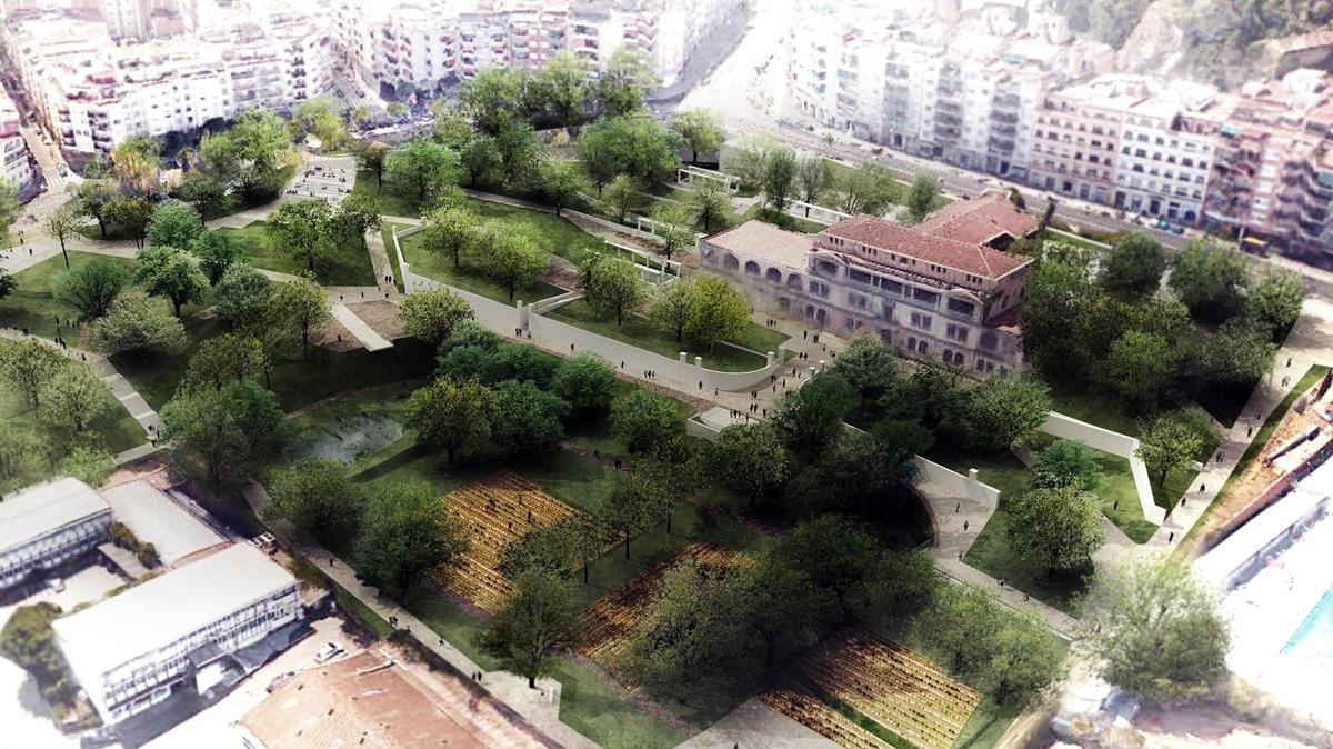 Jardín de la finca Ravetllat-Pla, en el barrio del Guinardó.