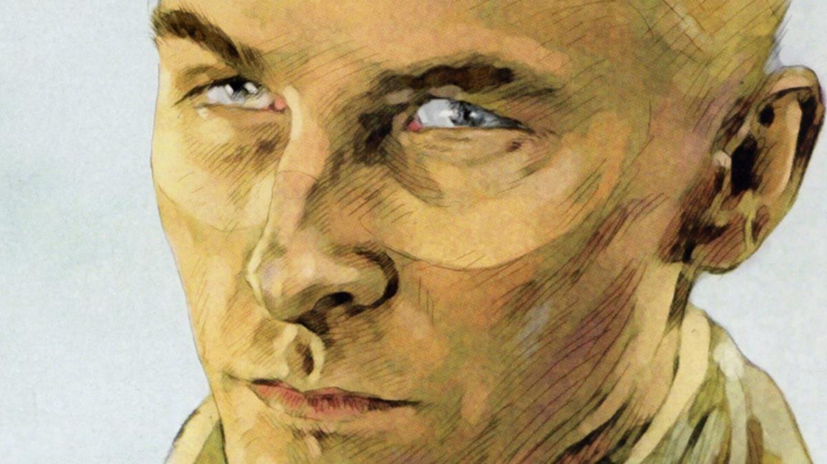La mirada delBarón Rojo, cuando asume que ver morir a un enemigo al que acaba de abatir le supone un placer extraño, en una viñeta del cómic de Carlos Puerta y Pierre Veys.