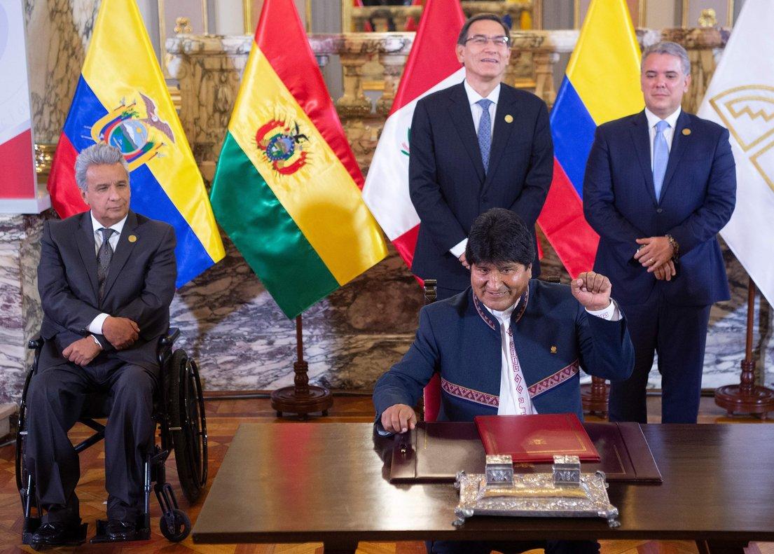 Los mandatarios deBolivia, Colombia, Ecuador y Perú, integrantes de la Comunidad Andina (CAN).