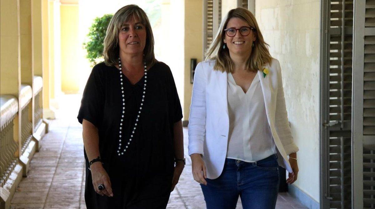 La consellera de la Presidencia, Elsa Artadi, y la alcaldessa de LHospitalet de Llobregat, Núria Marin.