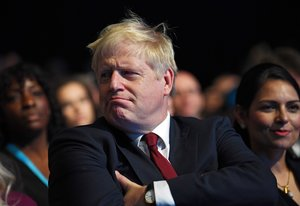 Manchester (United Kingdom), 30/09/2019.- Britain's Prime Minister Boris Johnson attends the Conservative Party Conference in Manchester, Britain, 30 September 2019. The Conservative Party Conference runs from 29 September to 02 October 2019. (Reino Unido) EFE/EPA/NEIL HALL
