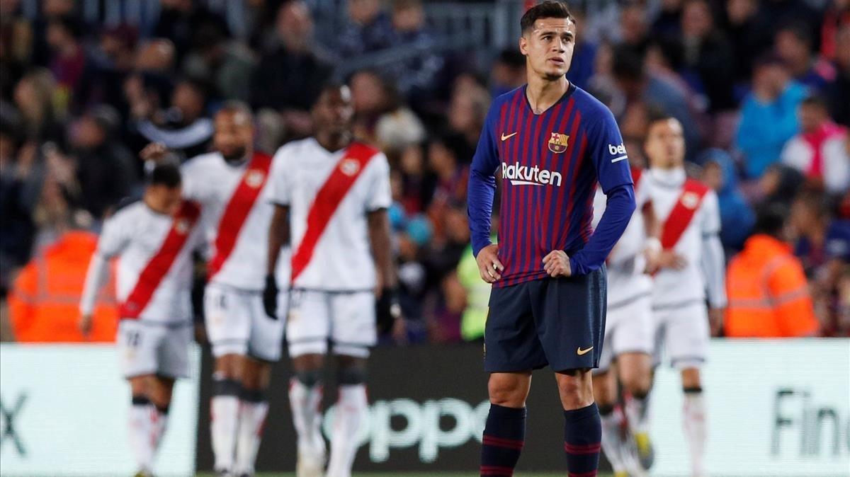 Coutinho, en el partido del sábado ante el Rayo Vallecano.