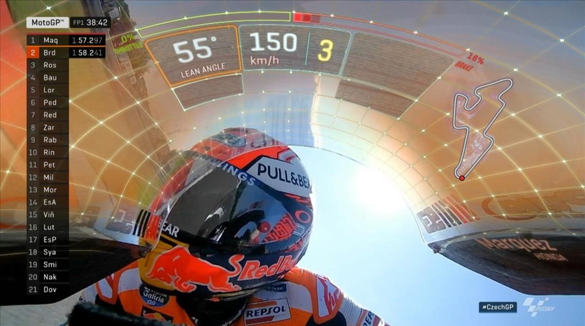 La cúpula de la Honda de Marc Márquez, en la retransmisión de Dorna TV del GP de Brno.