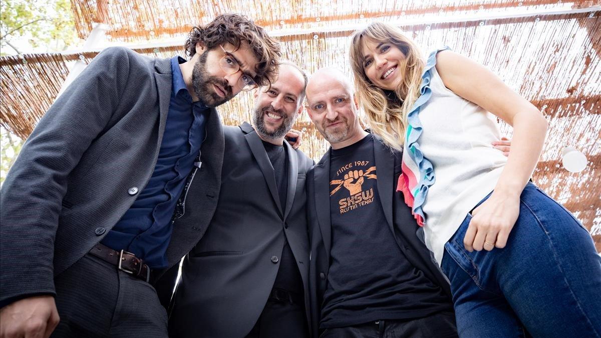 David Verdaguer, Gerard Quinto, Eteve Soler y Aina Clotet, en la presentación de '7 raons per fugir'