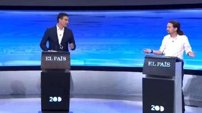 Debate electoral entre Pedro Sánchez, Pablo Iglesias y Albert Rivera, en el que el socialista negó el fichaje de Trinidad Jiménez por Telefónica.