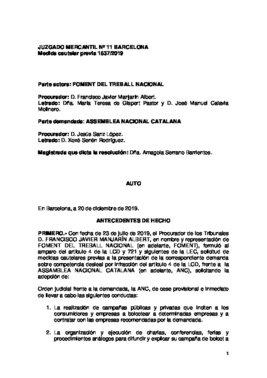 Resolución del juzgado mercantil sobre la ANC