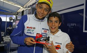 El día (5 de julio del 2008) que Marc Márquez conoció a Valentino Rossi, en Montemló (Barcelona).