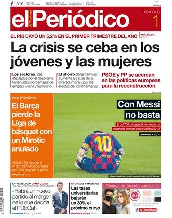 La portada d'EL PERIÓDICO de l'1 de juliol del 2020