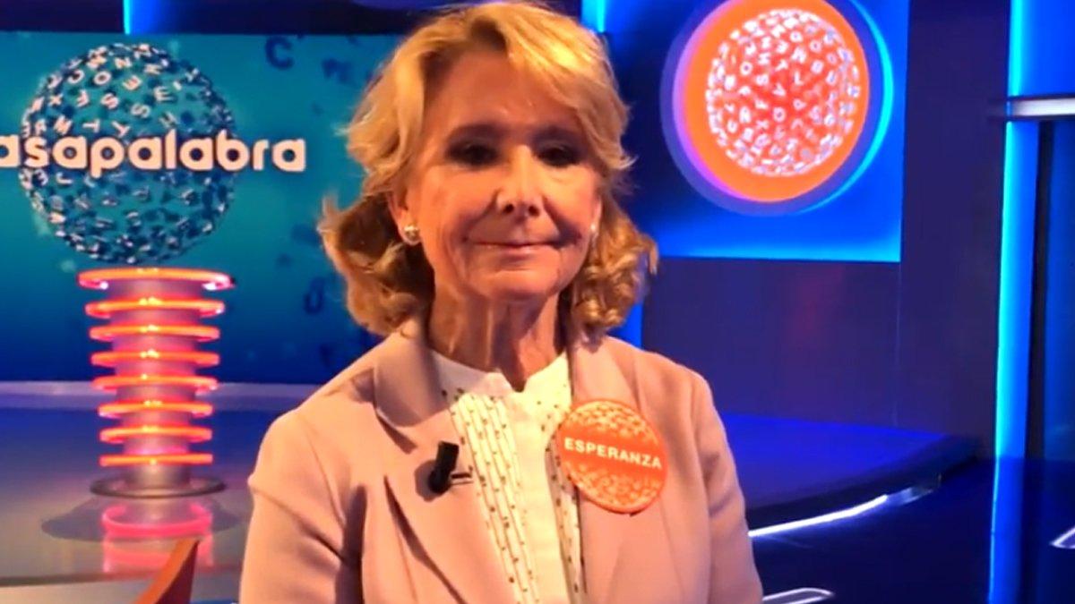 """Esperanza Aguirre, durante las grabaciones de 'Pasapalabra': """"A veces no he dado ni una"""""""