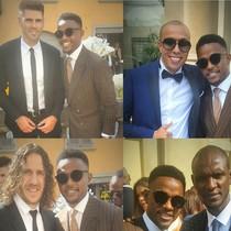 Etoo posa con cuatro de los invitados a su boda: Valdés, el marroquí Kharja, Puyol y Abidal.