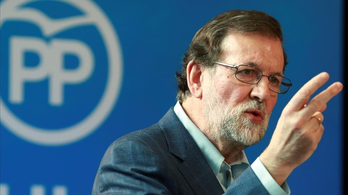 El presidente del Gobierno, Mariano Rajoy, en un acto del PP.