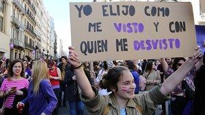 Participantes en la manifestación del Día de la Mujer del 2019 en Barcelona.