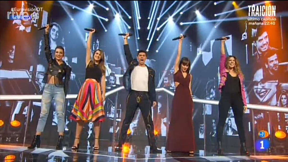 Los finalistas del concurso musical de TVE-1 Operación Triunfo.