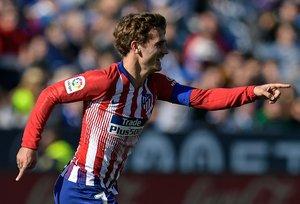 Greizmann celebra el gol del Atlético.