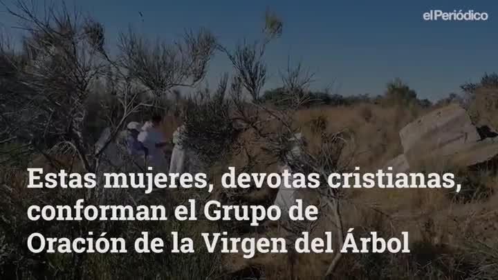 El Grupo de Oración de la Virgen del Árbol lleva más de 30 años realizando su particular liturgia religiosa en la montaña de la cruz de Montigalà de Badalona.