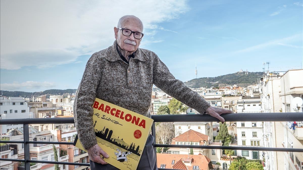 El histórico dibujante del 'TBO' Josep Maria Blanco, este jueves, en la azotea de la editorial, en Barcelona.