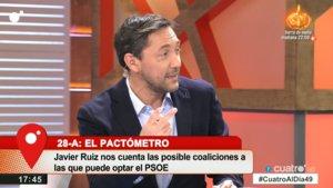 Javier Ruiz en el plató de Cuatro al día.