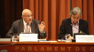 Josep Oliu declara ante la comisión del 155 en el Parlament.