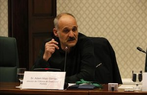 El director de la Oficina de Drets Civils i Polítics, Adam Majó, en el Parlament.