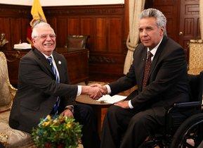 El presidente de EcuadorLenin MorenoyJosep Borrell,ministro español de Asuntos Exteriores.