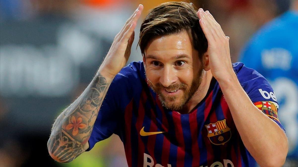 Leo Messi, celebrando un gol esta temporada.