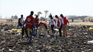 Los equipos de rescate trabajan en el lugar donde cayó el avión.