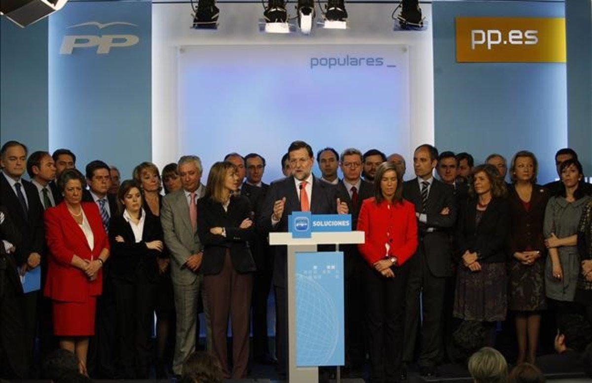 Mariano Rajoy acompañado de la cúpula del PP en el 2009, en una comparecencia sobre el 'caso Gürtel'