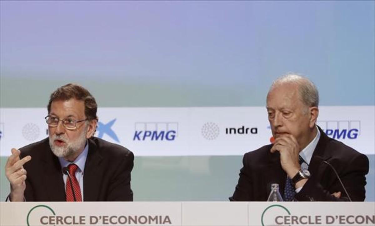 Mariano Rajoy y Juan José Brugera, presidente del Cercle dEconomia, en las jornadas del año pasado.
