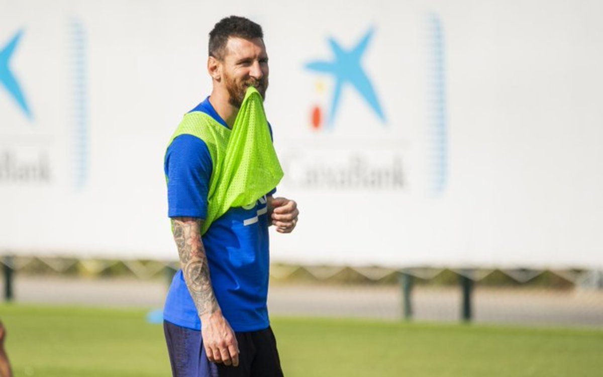Messi, en el entrenamiento de este martes en la ciudad deportiva del Barça.