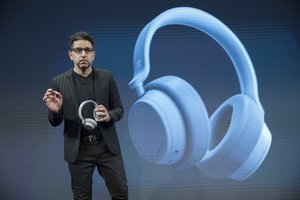 Microsoft Chief Product Officer Panos Panay introduces the Surface Headphones during a news conference  AP Photo Mary Altaffer