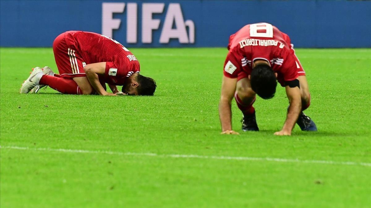Milad Mohammadi reacciona ante la derrota 1-0 frente España