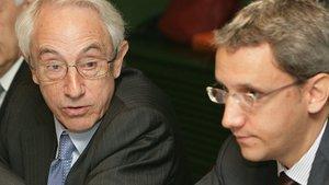 El presidente de Miquel y Costas, Jordi Mercader, y su hijo Jordi.