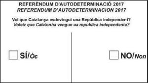 La papeleta propuesta por la CUP para el referéndum de independencia.