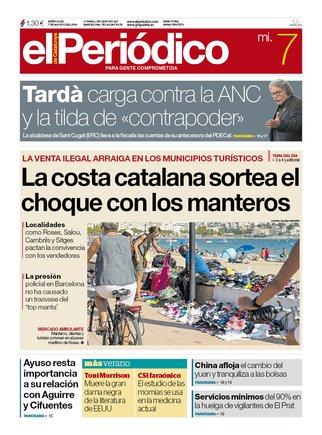 La portada de EL PERIÓDICO del 7 de agosto del 2019