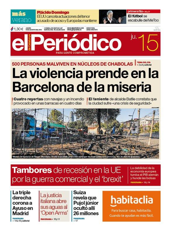 La portada de EL PERIÓDICO del 15 de agosto del 2019