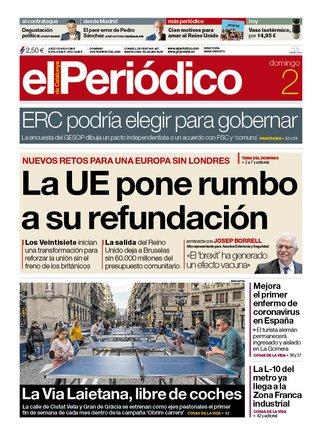 La portada de EL PERIÓDICO del 2 de febrero del 2020.