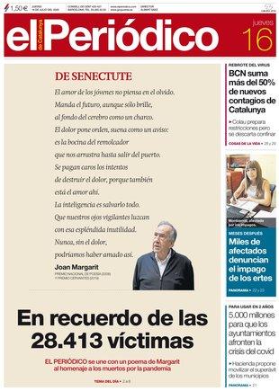 La portada de EL PERIÓDICO del 16 de julio del 2020