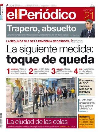 La portada de EL PERIÓDICO del 21 de octubre del 2020.