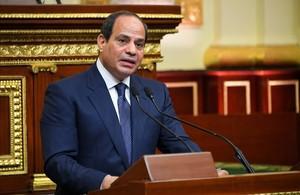 El presidente egipcio, Abdelfatah al Sisi, durante el discurso de investidura con el que inaugura su segundo mandato.