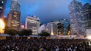 Protesta este viernes en el Distrito Central deHong Kong.
