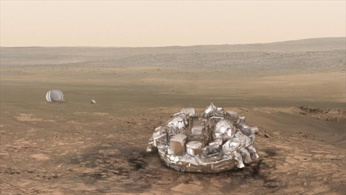 Simulacióndel Schiaparelli en la superficie de Marte, en caso de haber tenido un aterrizaje sin problemas.