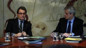 Artur Mas y Germà Gordó, en una reunión del Consell Executiu, en el 2012.