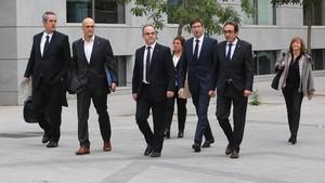 Siete de los consellers cesados a quienes la jueza Carmen Lamela ordenó prisión provisional.