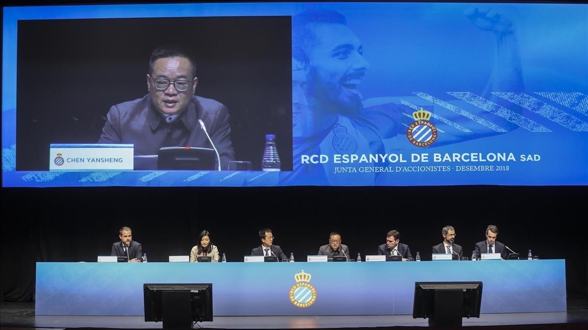 Aspecto del auditorio de Cornellà en la junta de accionistas del Espanyol del año pasado.