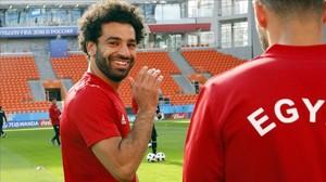 Salah, en el último entrenamiento previo al Uruguay-Egipto.