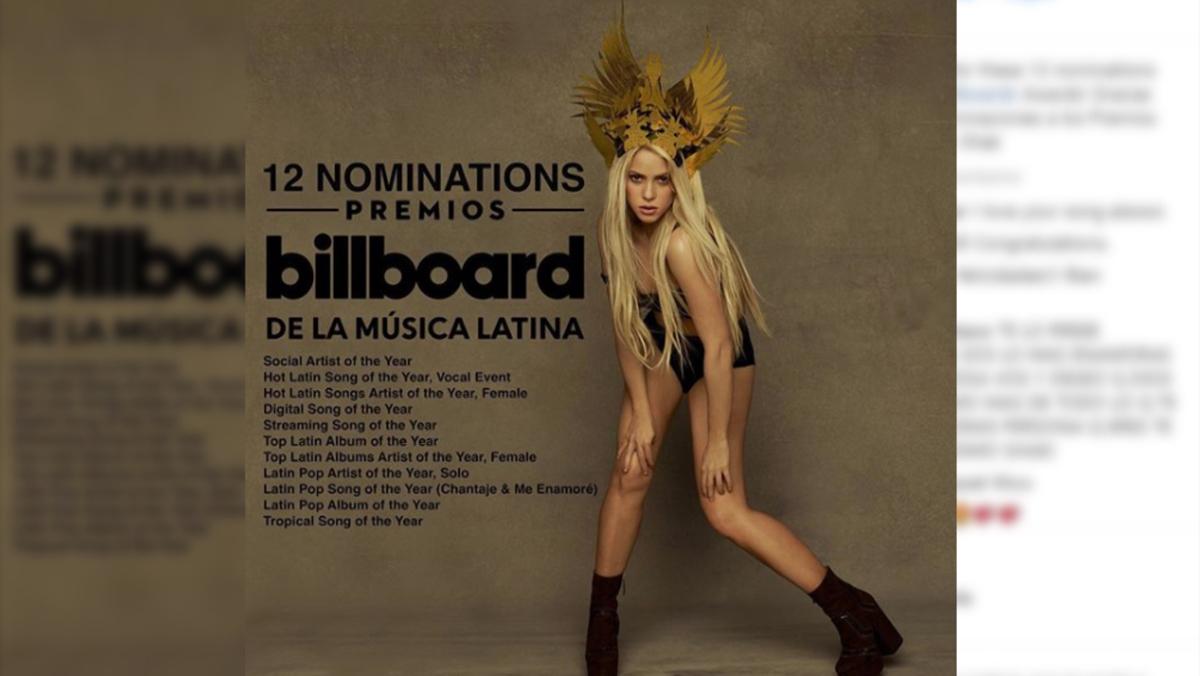 Shakira obtiene 12 nominaciones Billboard
