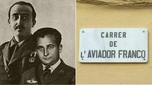Francisco Franco, su hermano Ramón y la placa de la calle de Barcelona dedicada al segundo.