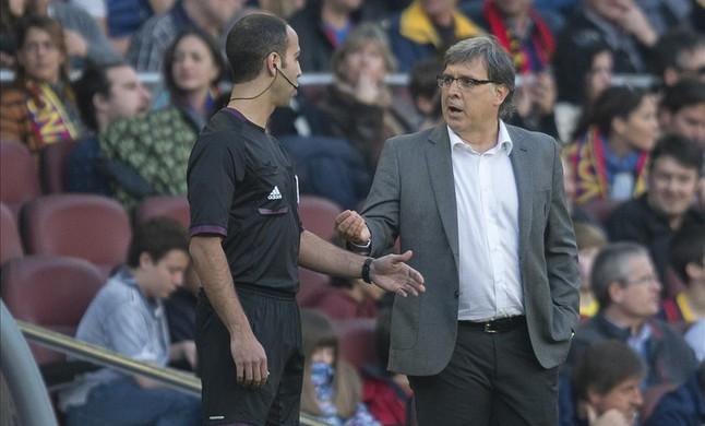 Tata Martino, en un partido del Barça.